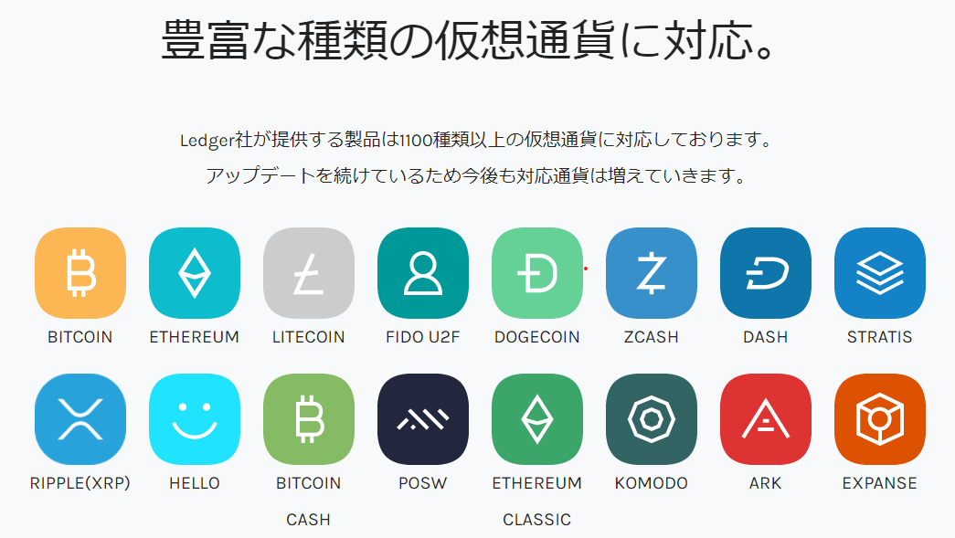 Ledger Nano S対応暗号資産(仮想通貨)